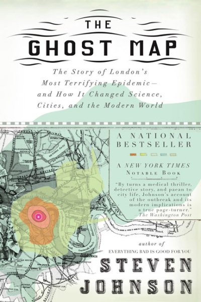 Ghost map book cover. An overlay of topographic-like rings over a city map.