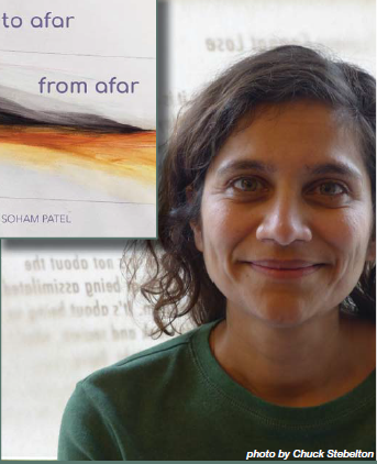 The book cover of To Afar From Afar, and the poet Soham Patel looking directly the viewer.