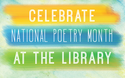 "A multicolored banner that says ""Celebrate National Poetry Month."""